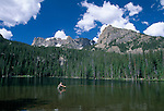Man fly fishing in the still waters of Fern Lake, Rocky Mtn Nat'l Park, CO