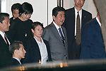 Japan's Prime Minister Shinzo Abe and his wife Akie Abe leave the teppanyaki restaurant Ukai-tei in Ginza on November 5, 2017, Tokyo, Japan. Abe and US President Donald Trump enjoyed dinner in Tokyo after playing golf in the afternoon. Japan is the first stop on his five-nation tour in Asia. (Photo by Rodrigo Reyes Marin/AFLO)