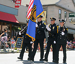 Honor Guard of the Saugerties Police Dept., seen in the Independence Day Parade in Village of Saugerties, NY, on Tuesday, July 4, 2017. Photo by Jim Peppler. Copyright/Jim Peppler-2017.