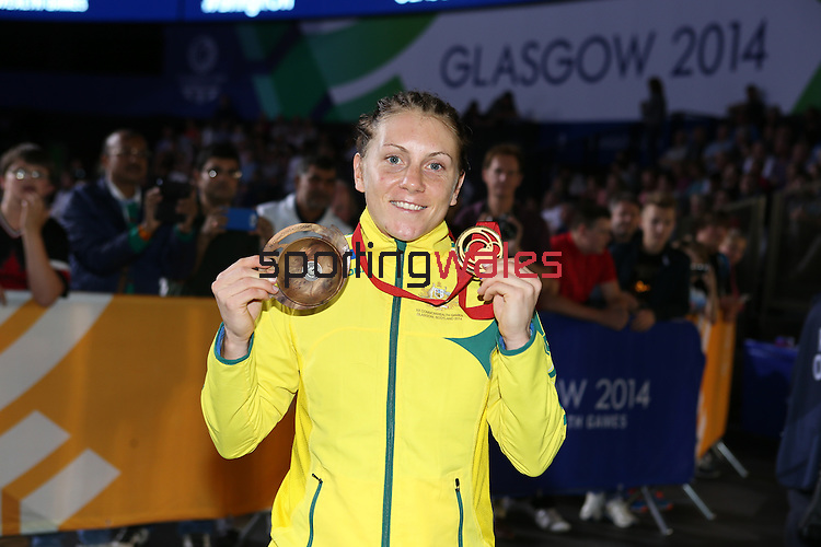 Glasgow 2014 Commonwealth Games<br /> <br /> Shelley Watts (Australia) holding her gold medal.<br /> <br /> 02.08.14<br /> ©Steve Pope-SPORTINGWALES