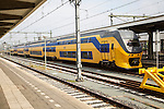 Inter-city train at platform, Maastricht railway station, Limburg province, Netherlands