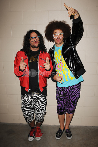 SUNRISE, FL - DECEMBER 12 : LMFAO poses backstage at the Y-100 Jingle ball held at the Bank Atlantic center on December 12, 2009 in Fort Lauderdale Florida. Credit: mpi04/MediaPunch