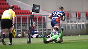 23rd March 2018, Ashton Gate, Bristol, England; RFU Rugby Championship, Bristol versus Yorkshire Carnegie; George Watkins of Yorkshire Carnegie tackles Alapati Leiua of Bristol into touch