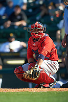 Boston Red Sox catcher Sandy Leon (3) during a Spring Training game against the Pittsburgh Pirates on March 9, 2016 at McKechnie Field in Bradenton, Florida.  Boston defeated Pittsburgh 6-2.  (Mike Janes/Four Seam Images)