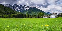 Slovenia. House below the Juilan Alps just outside Kranjska Gora, Triglav National Park, Upper Carniola, Slovenia