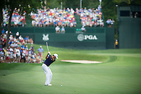 Jason Day hits his approach into the 15th during the opening round of the US PGA Championship at Valhalla (Photo: Anthony Powter) Picture: Anthony Powter / www.golffile.ie