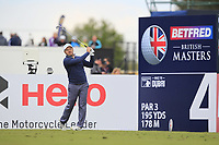 Richard Sterne (RSA) on the 4th tee during Round 2 of the Betfred British Masters 2019 at Hillside Golf Club, Southport, Lancashire, England. 10/05/19<br /> <br /> Picture: Thos Caffrey / Golffile<br /> <br /> All photos usage must carry mandatory copyright credit (&copy; Golffile | Thos Caffrey)