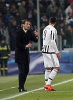 Calcio, Champions League: Gruppo D - Juventus vs Manchester City. Torino, Juventus Stadium, 25 novembre 2015. <br /> Juventus coach Massimiliano Allegri, left, gives indications to his player Alvaro Morata during the Group D Champions League football match between Juventus and Manchester City at Turin's Juventus Stadium, 25 November 2015. <br /> UPDATE IMAGES PRESS/Isabella Bonotto