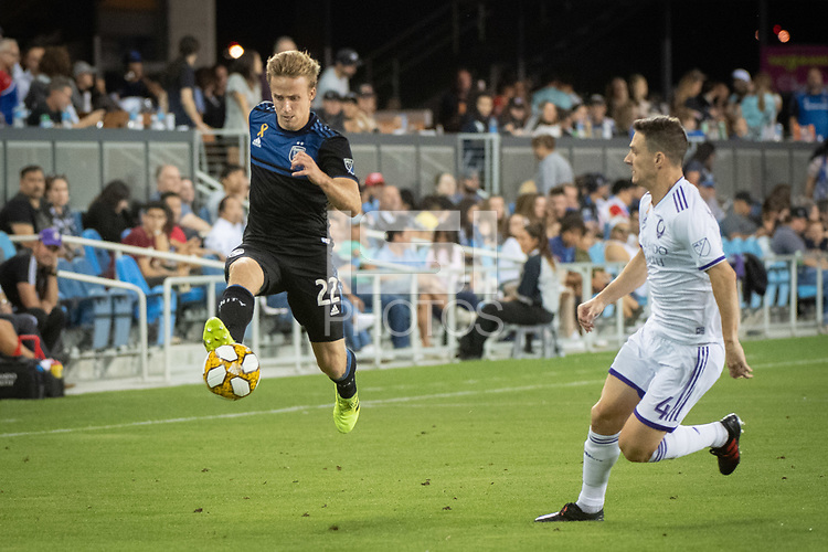SAN JOSE,  - SEPTEMBER 1: Tommy Thompson #22 of the San Jose Earthquakes and Will Johnson #4 of the Orlando City SC during a game between Orlando City SC and San Jose Earthquakes at Avaya Stadium on September 1, 2019 in San Jose, .