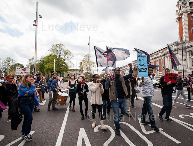 London, 25/04/2015. Today, various activist organizations, including &quot;London Black Revs&quot;, &quot;Reclaim Brixton&quot; and &quot;Save The Brixton Arches&quot;, held demonstrations to call for an immediate stop to the gentrification of the area and the alleged &quot;social and racial cleansing&quot; of the historical, multi-ethnic and vibrant community of Brixton, part of the London Borough of Lambeth in South London.<br />