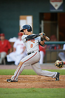 Bowie Baysox shortstop Adrian Marin (8) at bat during a game against the Harrisburg Senators on May 16, 2017 at FNB Field in Harrisburg, Pennsylvania.  Bowie defeated Harrisburg 6-4.  (Mike Janes/Four Seam Images)