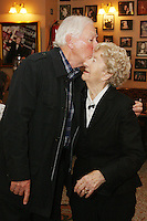 26/8/2010. NO REPRO FEE. Little Gem Opening night.  Gay Byrne is pictured with Maureen Grant  who is celebrating her 85th birthday and has been working at the Olympia for 62 years at the Olympia Theatre Dublin for the opening night of Little Gem. Hilda Fay makes her return as Lorraine, Anita Reeves continues in the role of Kay, and Genevieve Hulme-Beaman takes on the role of Amber. After sell-out seasons in New York, London and Paris and a sold-out 7-week run at Ireland's National Theatre, Gúna Nua is bringing its bittersweet comedy Little Gem back to Dublin for 10 shows only at The Olympia Theatre from August 26 to September 4, 2010. Love, sex, birth, death, dildos and salsa classes: Elaine Murphy's award winning Little Gem sees three generations of Dublin women on a wild and constantly surprising journey. Picture James Horan/Collins Photos