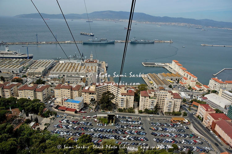 Carpark and port with aerial tramway cables overhead, Gibraltar.