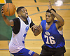 Leon Taylor, left, drives to the hoop for a basket during a Long Island Nets open tryout at LIU Post's Pratt Center in Brookville, NY on Saturday, Sept. 30, 2017.