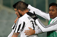Calcio, Serie A: Fiorentina vs Juventus. Firenze, stadio Artemio Franchi, 24 aprile 2016.<br /> Juventus&rsquo; Alvaro Morata, left, celebrates with teammates Leonardo Bonucci, center, and Alex Sandro, after scoring the winning goal during the Italian Serie A football match between Fiorentina and Juventus at Florence's Artemio Franchi stadium, 24 April 2016. <br /> UPDATE IMAGES PRESS/Isabella Bonotto