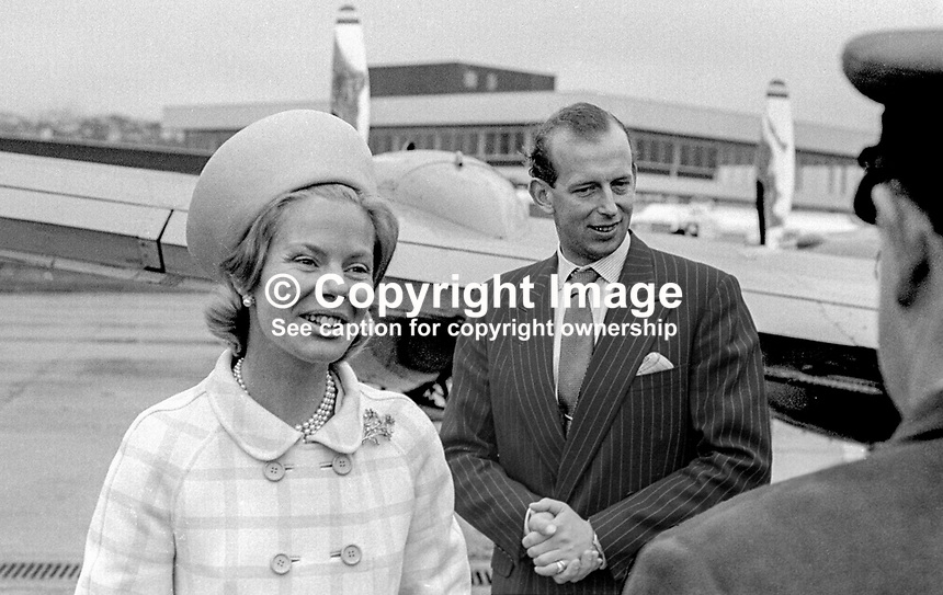 Duke and Duchess of Kent on arrival at Aldergrove Airport, Belfast, N Ireland, at the start of a two day visit in May 1968. 196805000139...Copyright Image from Victor Patterson, 54 Dorchester Park, Belfast, United Kingdom, UK...For my Terms and Conditions of Use go to http://www.victorpatterson.com/Victor_Patterson/Terms_%26_Conditions.html