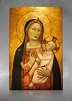 Gothic altarpiece of Madonna and Child by Bernardo Daddi, circa 1340-1345, tempera and gold leaf on wood.  National Museum of Catalan Art, Barcelona, Spain, inv no: MNAC  212806. Against a grey art background.