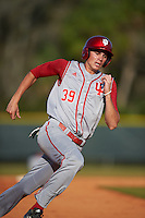 Indiana Hoosiers center fielder Craig Dedelow (39) running the bases during a game against the Illinois State Redbirds on March 4, 2016 at North Charlotte Regional Park in Port Charlotte, Florida.  Indiana defeated Illinois State 14-1.  (Mike Janes/Four Seam Images)