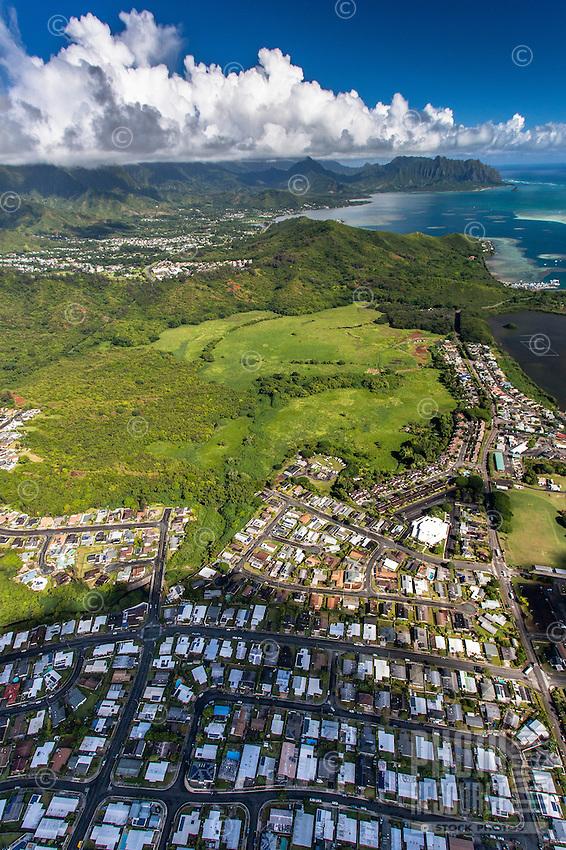 An aerial view of He'eia, Windward O'ahu.