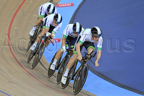 03.03.2016. Lee Valley Velo Centre, London England. UCI Track Cycling World Championships Mens Team Pursuit final.  Team  Australia take gold consisting of WELSFORD Sam - HEPBURN Michael - SCOTSON Callum - SCOTSON Miles
