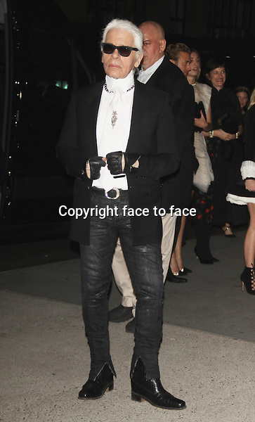 Karl Lagerfeld at the Museum of Modern Art 2013 Film benefit: A Tribute To Tilda_Swinton on November 5, 2013 in New York City.<br />