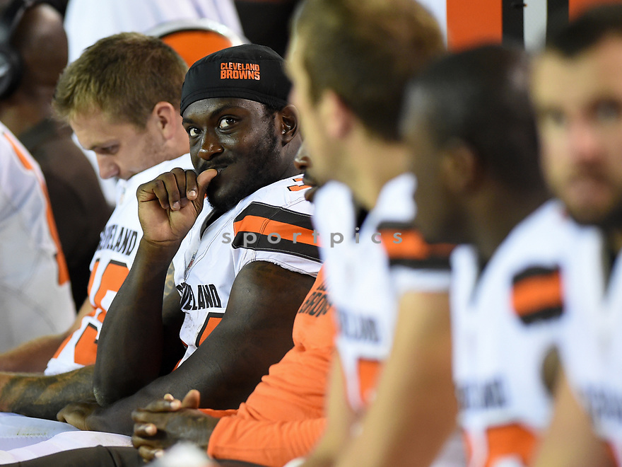 CLEVELAND, OH - AUGUST 18, 2016: Running back Isaiah Crowell #34 of the Cleveland Browns watches the action from the sideline in the third quarter of a preseason game on August 18, 2016 against the Atlanta Falcons at FirstEnergy Stadium in Cleveland, Ohio. Atlanta won 24-13. (Photo by: 2016 Nick Cammett/Diamond Images) *** Local Caption *** Isaiah Crowell