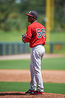 GCL Red Sox pitcher Algenis Martinez (58) gets ready to deliver a pitch during the first game of a doubleheader against the GCL Rays on August 4, 2015 at Charlotte Sports Park in Port Charlotte, Florida.  GCL Red Sox defeated the GCL Rays 10-2.  (Mike Janes/Four Seam Images)