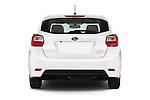 Straight rear view of a 2015 Subaru Base Impreza 5 Door Hatchback stock images