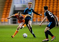 Blackpool's Ryan McLaughlin is fouled by West Bromwich Albion U21's Callum Morton<br /> <br /> Photographer Alex Dodd/CameraSport<br /> <br /> The EFL Checkatrade Trophy Northern Group C - Blackpool v West Bromwich Albion U21 - Tuesday 9th October 2018 - Bloomfield Road - Blackpool<br />  <br /> World Copyright &copy; 2018 CameraSport. All rights reserved. 43 Linden Ave. Countesthorpe. Leicester. England. LE8 5PG - Tel: +44 (0) 116 277 4147 - admin@camerasport.com - www.camerasport.com
