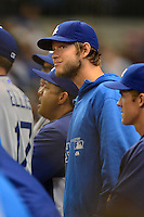 Los Angeles Dodgers pitcher Clayton Kershaw #22 during a game against the Milwaukee Brewers at Miller Park on May 22, 2013 in Milwaukee, Wisconsin.  Los Angeles defeated Milwaukee 9-2.  (Mike Janes/Four Seam Images)