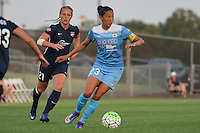 Piscataway, NJ - Saturday Aug. 27, 2016: Christen Press, Leah Galton during a regular season National Women's Soccer League (NWSL) match between Sky Blue FC and the Chicago Red Stars at Yurcak Field.