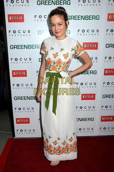 "BRIE LARSON.""Greenberg"" Los Angeles Premiere held at Arclight Cinemas, Hollywood, California, USA..March 18th, 2010.full length white skirt dress top maxi green orange floral print hand on hip bow ribbon.CAP/ADM/BP.©Byron Purvis/AdMedia/Capital Pictures."