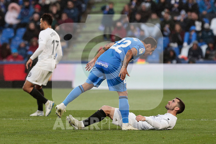 Getafe CF's Damian Suarez during La Liga match between Getafe CF and Valencia CF at Coliseum Alfonso Perez in Getafe, Spain. November 10, 2018.