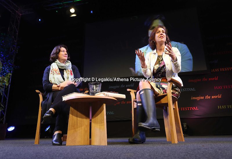 Wednesday 28 May 2014, Hay on Wye, UK<br /> Pictured: Kirsty Wark (R) interviewed by Sarah Crompton (L)<br /> Re: The Hay Festival, Hay on Wye, Powys, Wales UK.