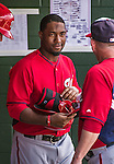 12 March 2014: Washington Nationals outfielder Brian Goodwin stands in the dugout during a Spring Training game against the Houston Astros at Osceola County Stadium in Kissimmee, Florida. The Astros rallied in the bottom of the 9th to edge out the Nationals 10-9 in Grapefruit League play. Mandatory Credit: Ed Wolfstein Photo *** RAW (NEF) Image File Available ***