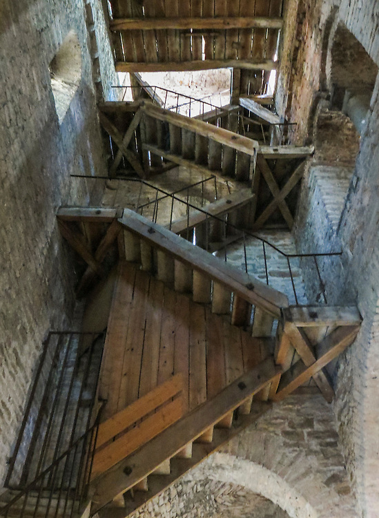 VMI Vincentian Heritage Tour: Old staircase in the bell tower of the Saint-Philibert de Tournus church, a former Benedictine abbey. Members of the VMI toured the site  Wednesday, June 29, 2016, as they visited the town of Tournus in southern France. (DePaul University/Jamie Moncrief)