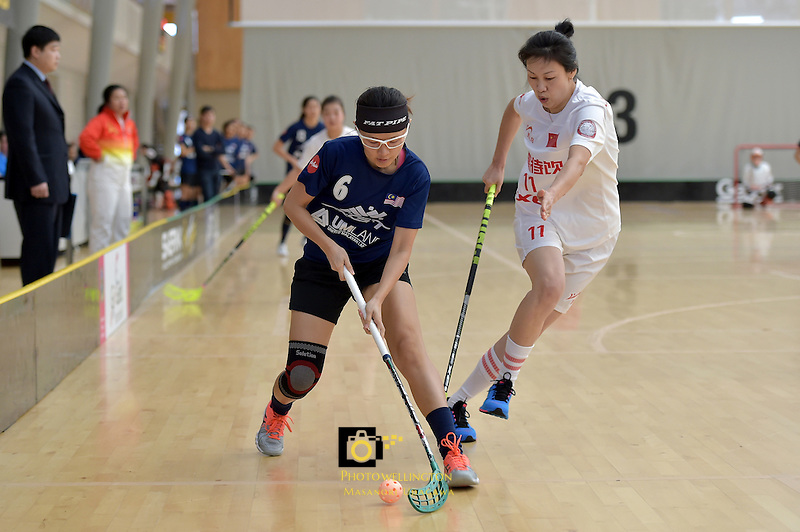 Malaysia's Eelee Tan in action during the World Floorball Championships 2017 Qualification for Asia Oceania Region - Malaysia v China at ASB Sports Centre , Wellington, New Zealand on Sunday 5 February 2017.<br /> Photo by Masanori Udagawa<br /> www.photowellington.photoshelter.com.