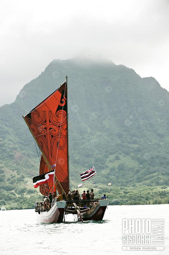 Arrival of Pacific voyaging canoes, Hakipu'u, O'ahu, on June 24, 2011. Te Mana o Te Moana - Kualoa, O'ahu