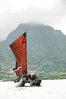 Arrival of Pacific voyaging canoes, Hakipu'u, O'ahu, on June 24, 2011. Te Mana o Te Moana - Kualoa, O'ahu