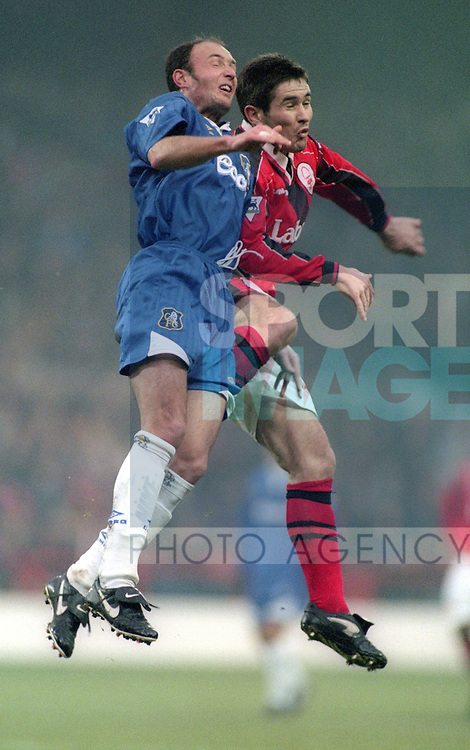 Frank Leboeuf  of Chelsea challenges Nigel Clough of Nottingham Forest   - Premier League - Nottingham Forest v Chelsea - City Ground - Nottingham - England - 11th January 1997 - Picture Simon Bellis/Sportimage
