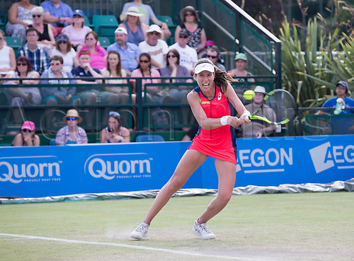 June 18th 2017, Nottingham, England; WTA Aegon Nottingham Open Tennis Tournament day 7 finals day;  Backhand return from Johanna Konta of Great Britain against Donna Vekic of Croatia