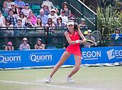 June 18th 2017, Nottingham, England; WTA Aegon Nottingham Open Tennis Tournament day 7 finals day;  Backhand return from Johanna Konta of Great Britain against Donna Vekic of Croatia