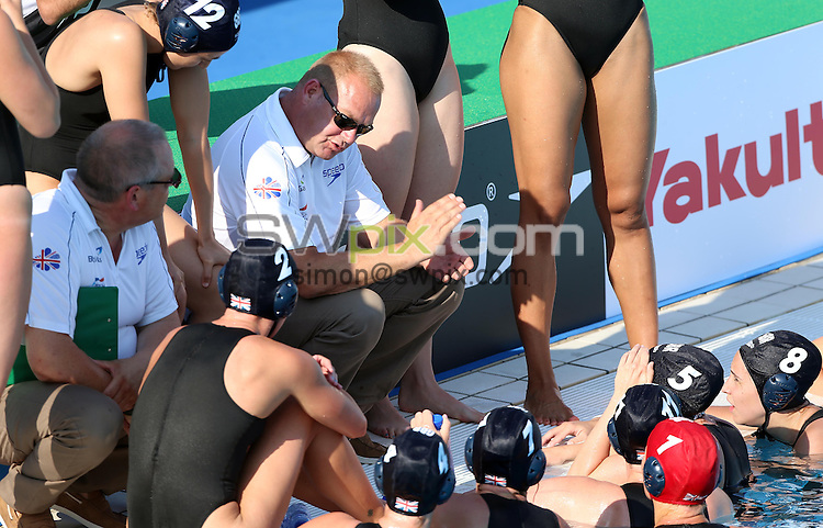PICTURE BY VAUGHN RIDLEY/SWPIX.COM - Water Polo - 15th FINA World Championships 2013 - Great Britain v Canada - Bernat Picornell Swimming Pool, Barcelona, Spain - 21/07/13 - Great Britain's Head Coach Paul Metz calls a timeout.