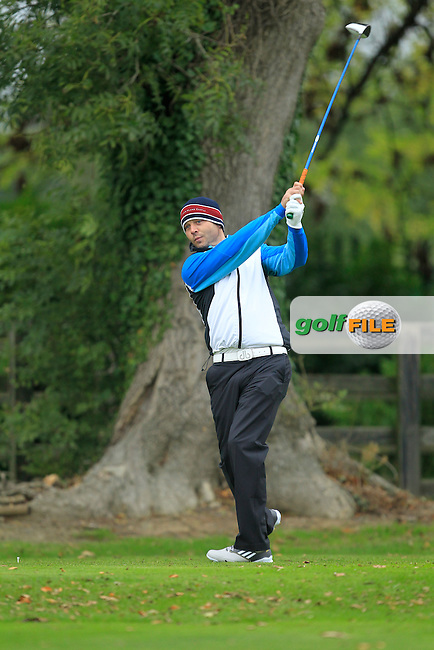 David Foley (Dromoland Castle G.C) on the 1st tee during Round 3 of The Cassidy Golf 103rd Irish PGA Championship in Roganstown Golf Club on Saturday 12th October 2013.<br /> Picture:  Thos Caffrey / www.golffile.ie