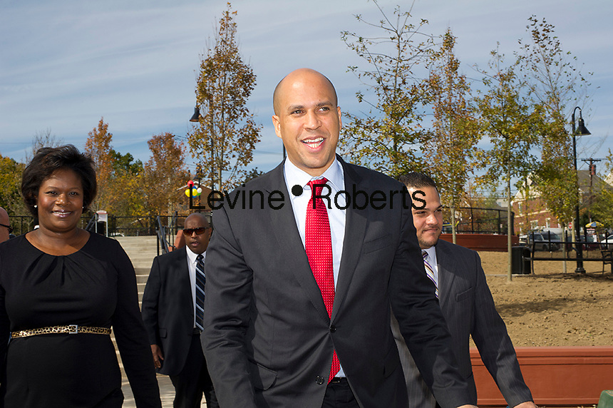 Newark Mayor Corey A. Booker arrives for the Jesse Allen Park Phase II Opening Celebration, Newark, NJ on Wednesday, October 17, 2012.  (© Frances M. Roberts)