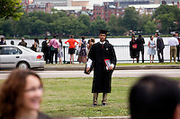 Graduating students and their families gather on Memorial Drive near the Charles River after the 2012 MIT Commencement on June 8, 2012, in Cambridge, Massachusetts, USA...Photo by M. Scott Brauer
