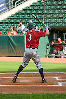 Cody Jones (3) of the Idaho Falls Chukars at bat against the Ogden Raptors in Pioneer League action at Lindquist Field on August 26, 2015 in Ogden, Utah. Ogden defeated the Chukars 5-1.  (Stephen Smith/Four Seam Images)