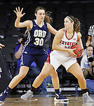 SIOUX FALLS, SD - MARCH 7:  Blair Bryce #30 of Oral Roberts defends Margaret McCloud #30 of South Dakota in 2016 Summit League Tournament play. (Photo by Dick Carlson/Inertia)