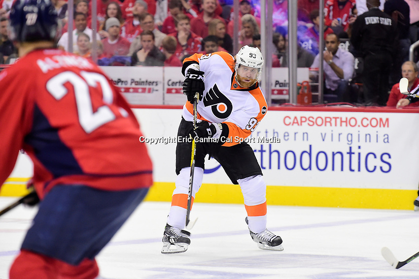 Friday, April 22, 2016: Philadelphia Flyers left wing Jakub Voracek (93) fires the puck during game 5 of the first round of the National Hockey League Eastern Conference playoffs  between the Philadelphia Flyers and the Washington Capitals held at the Verizon Center in Washington, DC. The Flyers defeat the Capitals 2-0. Eric Canha/CSM
