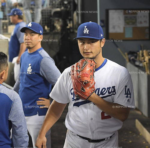 (R-L) Yu Darvish, Kenta Maeda (Dodgers),<br /> AUGUST 16, 2017 - MLB :<br /> Yu Darvish and Kenta Maeda of the Los Angeles Dodgers in the dugout during the Major League Baseball game against the Chicago White Sox at Dodger Stadium in Los Angeles, California, United States. (Photo by AFLO)